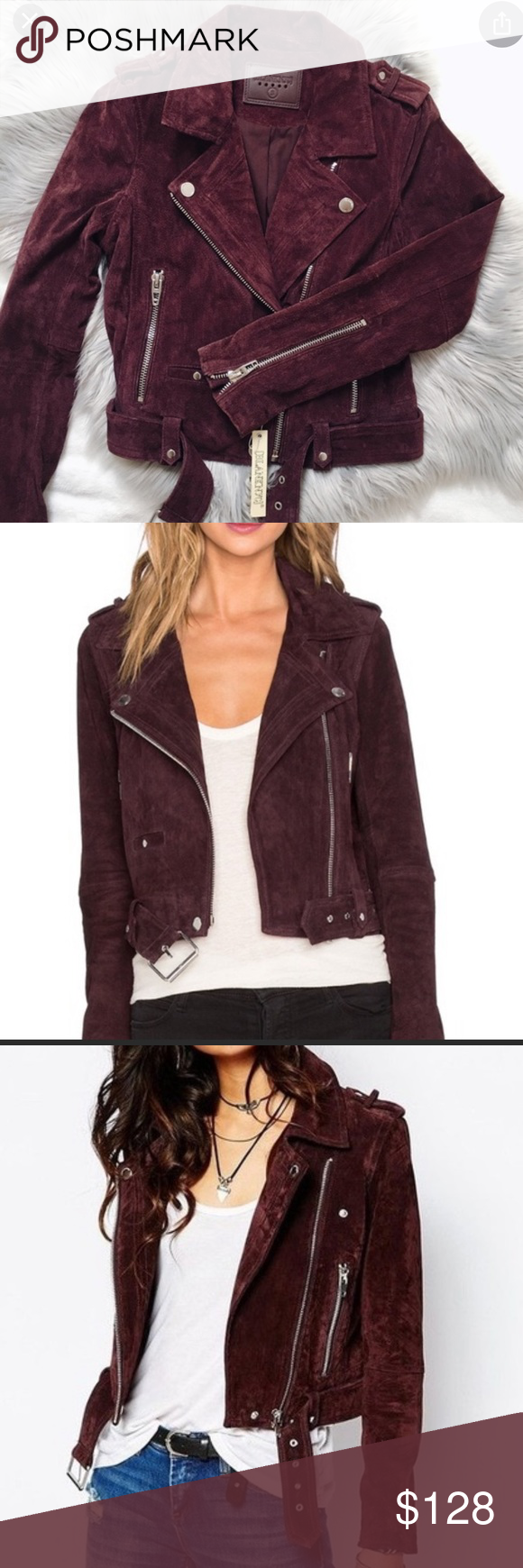 BLANKNYC Burgundy Suede Moto Jacket Size Small in 2020