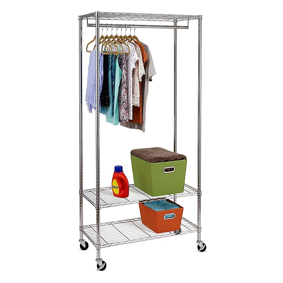Honey Can Do 3 Shelf 36 Deluxe Rolling Garment Rack In Chrome In
