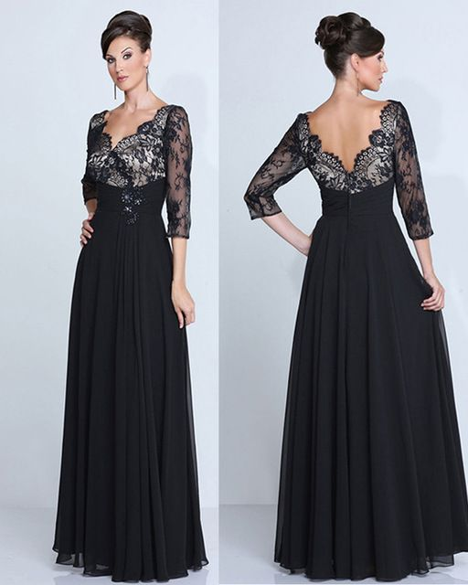 Custom Made Black Lace Sexy V-neck Evening Gown Long Chiffon Plus Size  Mother of the Bride Evening Dresses 2016 7df770c1cd5e