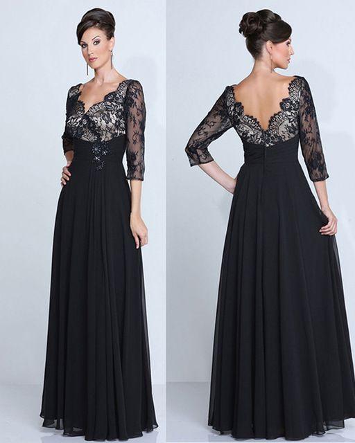 Por encargo de encaje negro v-cuello del vestido de noche de la gasa