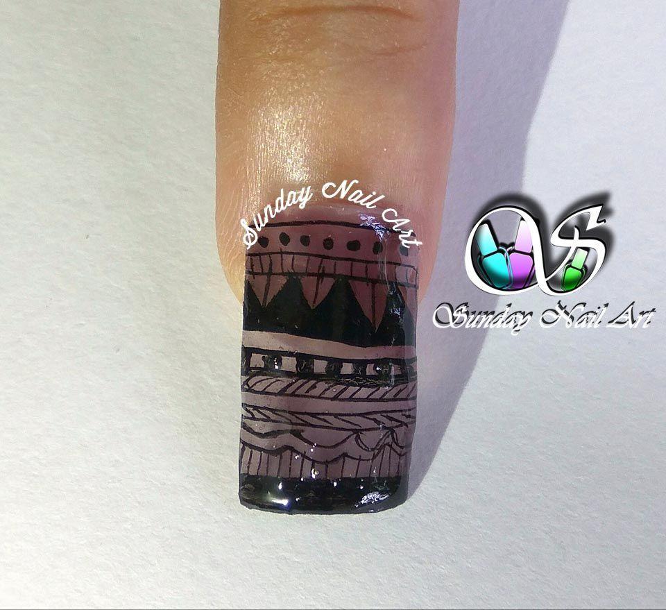 Black Pattern Nail Art By Sunday Nail Art Video On Youtube Sheer