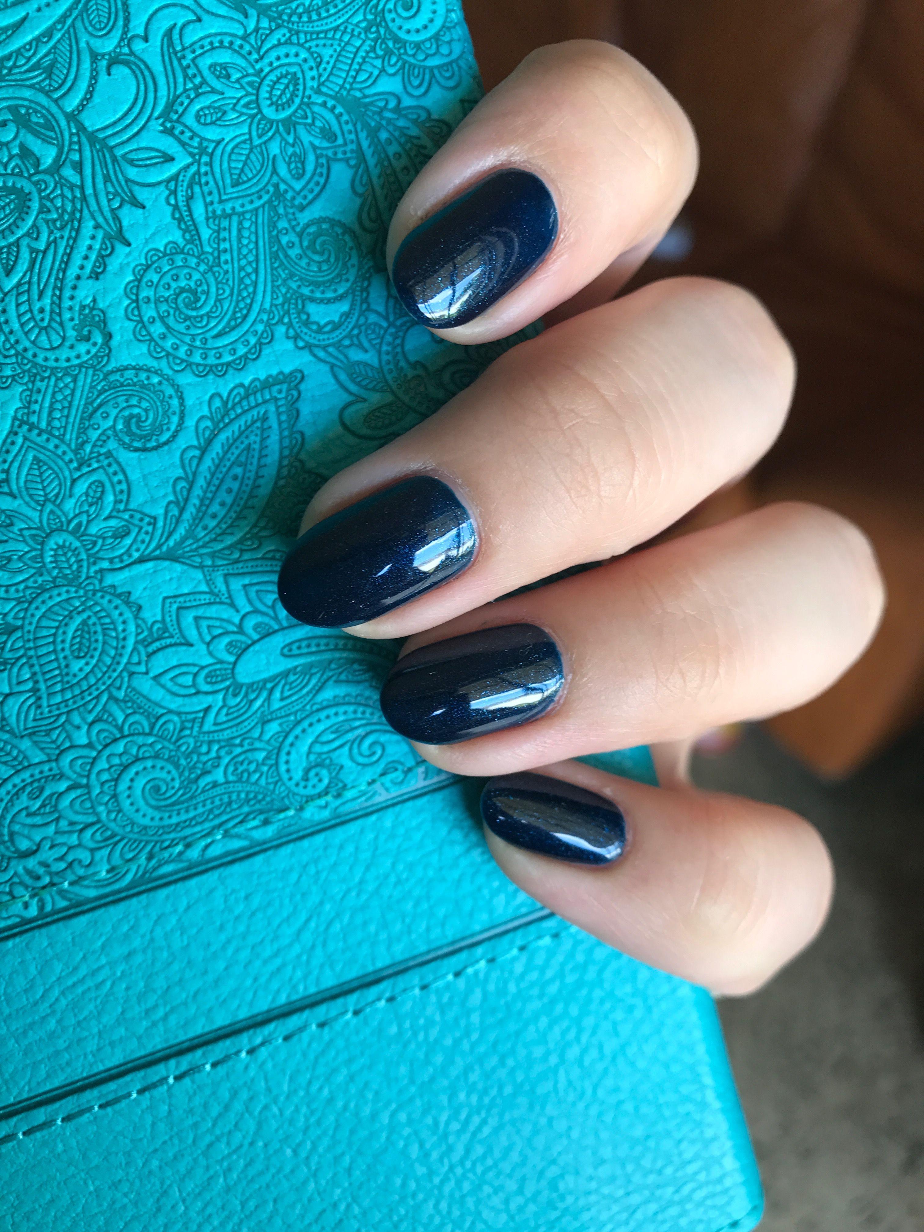 Dark blue shellac, oval nails #shellac | Blue shellac ...