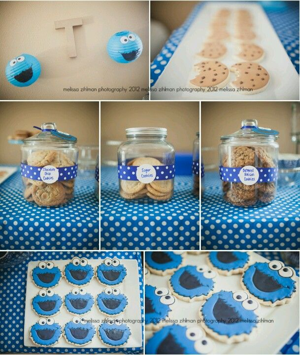 Cookie Monster Party Food Set Up Cookie Monster Birthday Party Cookie Monster Party Monster Cookies