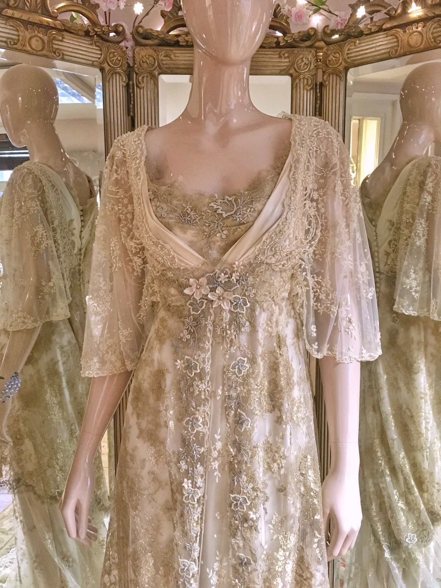 Pale gold cream silk edwardian inspired wedding dress
