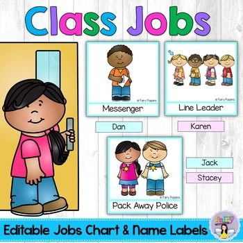 Having  classroom jobs chart is fun way of giving students responsibility it also helps your run more smoothly no arguments about who class editable  name labels stuff rh pinterest
