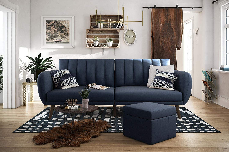 Trendy Novogratz Brittany Sofa Futon Navy Linen In 2020 Futon Sofa Sofa Linen Upholstery