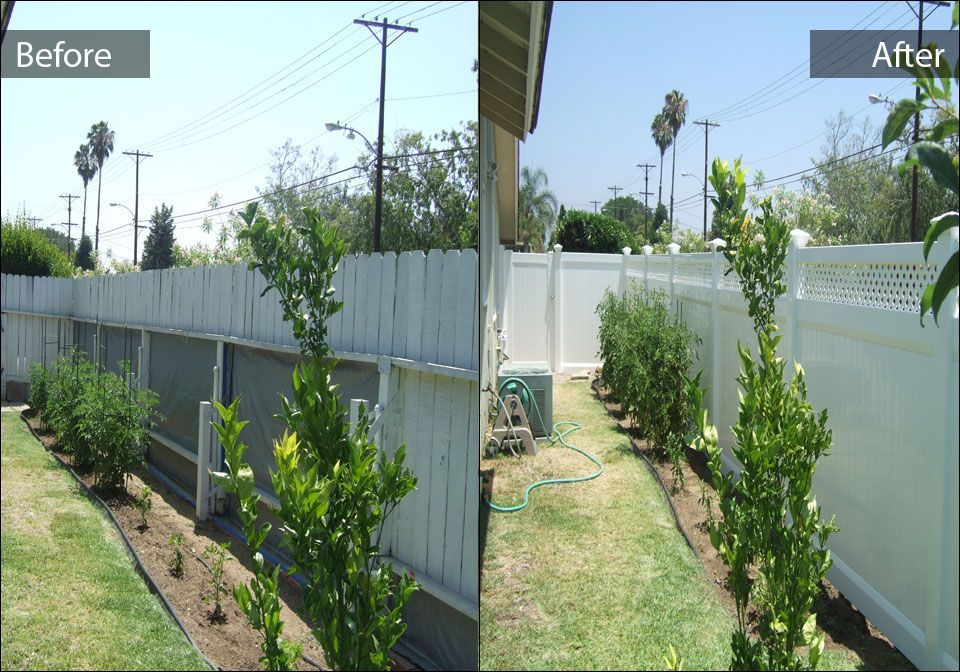 Before after gng vinyl fencing and patio covers