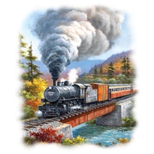 Train Crossing Heat Press Transfer For T Shirt Tote Sweatshirt Quilt Fabric 744c Train Art Train Landscape Paintings