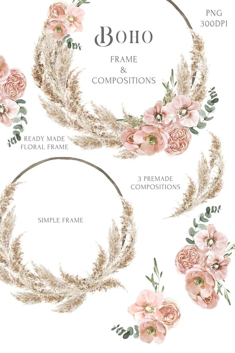 Wreath boho Watercolor Clipart boho style watercolor hand painting watercolor bouquet of flowers and feathers and the wreath