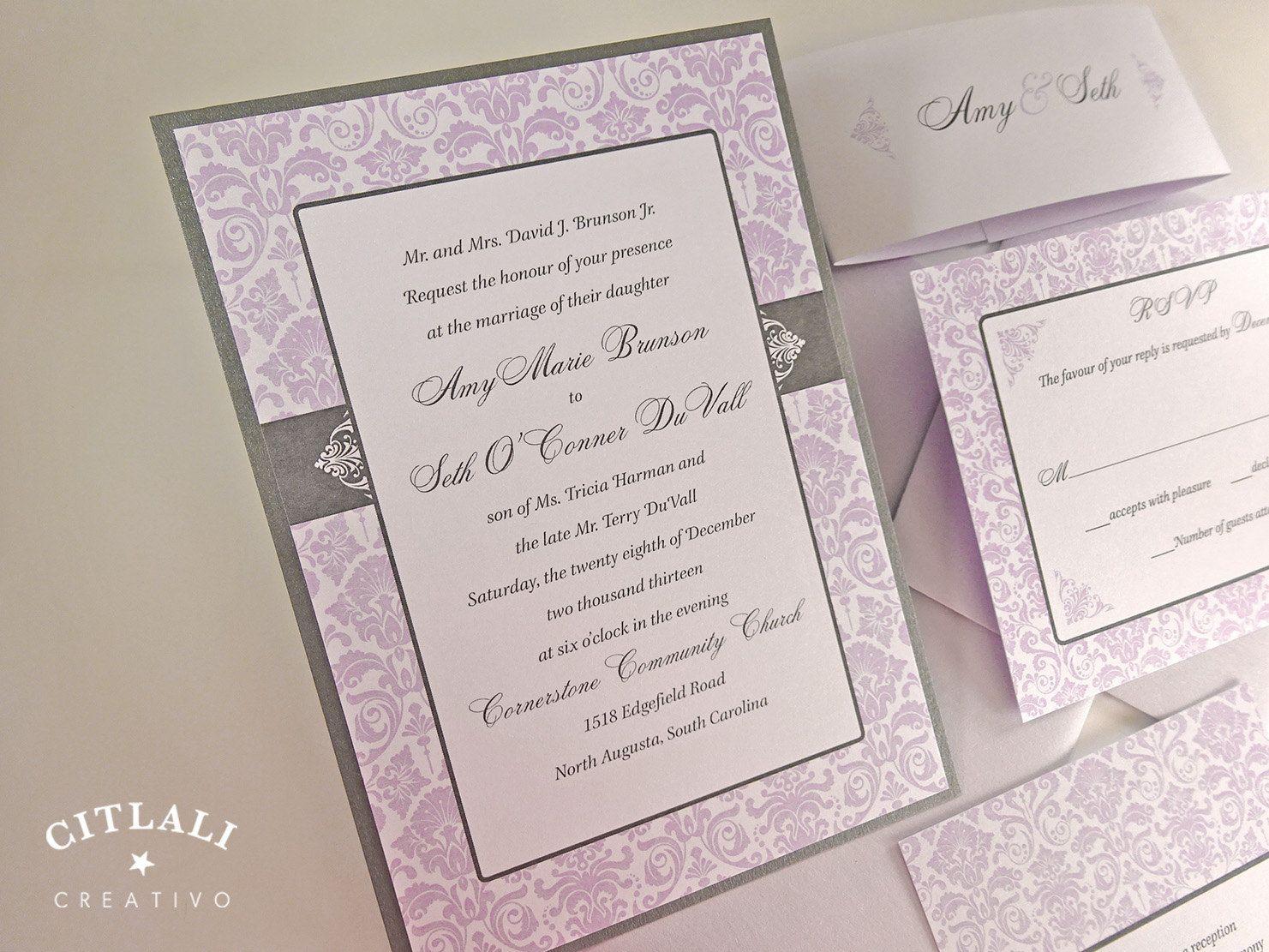 Purple Damask Wedding Invitation - Layered Invitation & Belly band ...