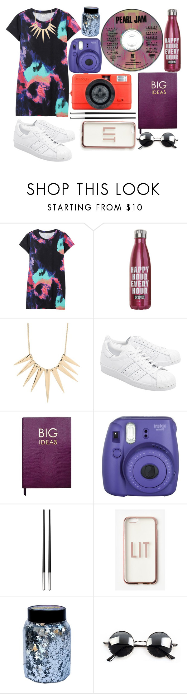 """""""Pearl Jam"""" by bridie-oloughlin ❤ liked on Polyvore featuring Monki, Sparkling Sage, adidas Originals, Sloane Stationery, Fujifilm, Christofle, Missguided, CO and Retrò"""