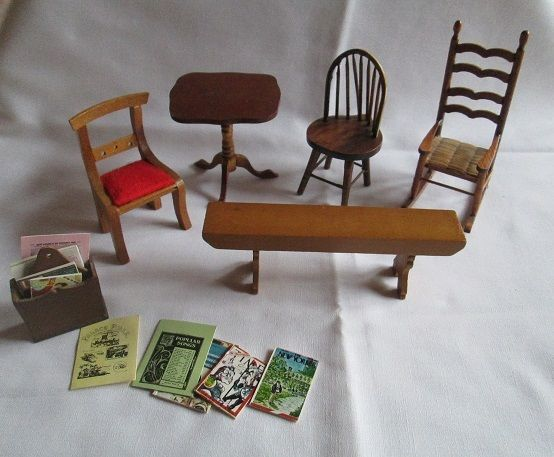 Ebay Auction 7 01 7 15 Shipping Vintage Shackman Miniature Dollhouse Furniture Chairs Table Dollhouse Furniture Miniature Dollhouse Furniture Furniture