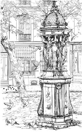 Vector illustration of an old fountain in Montmartre - Paris
