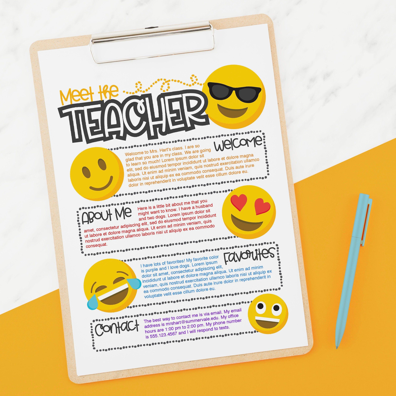 Emoji Meet The Teacher Flyer Slides Instant