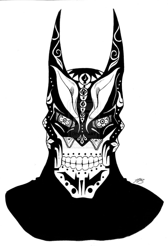 Flaming art tattoo for geek tattoo lovers this kind of batman - Batman Sugar Skull 1 By Newthundera Deviantart Com On Deviantart
