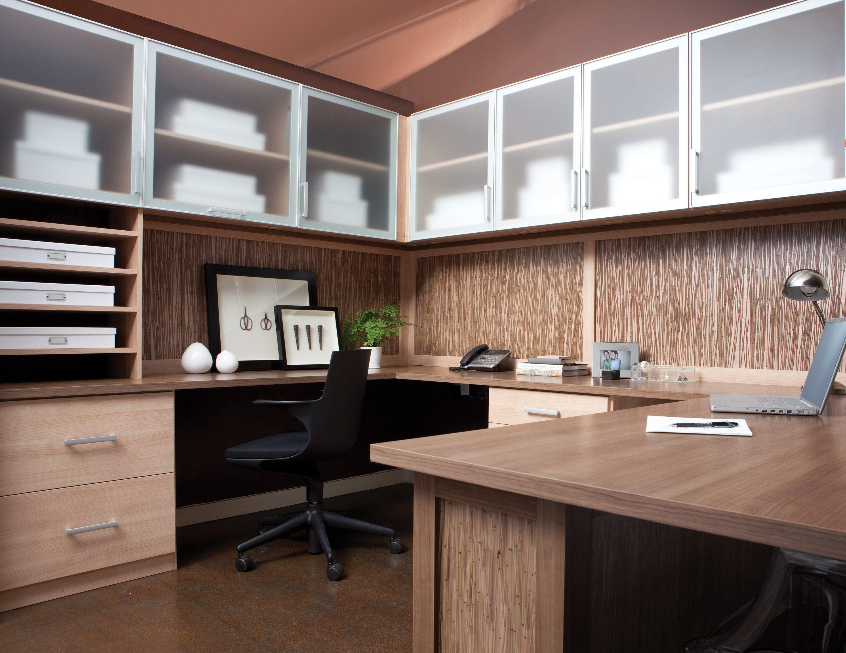 Desk Office Design Minimal Light Brown Wood Grain
