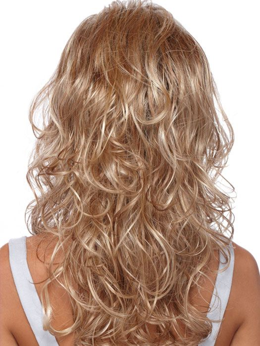 Long Curly Layered Back View Hairstyles Wavy Hair With Layers