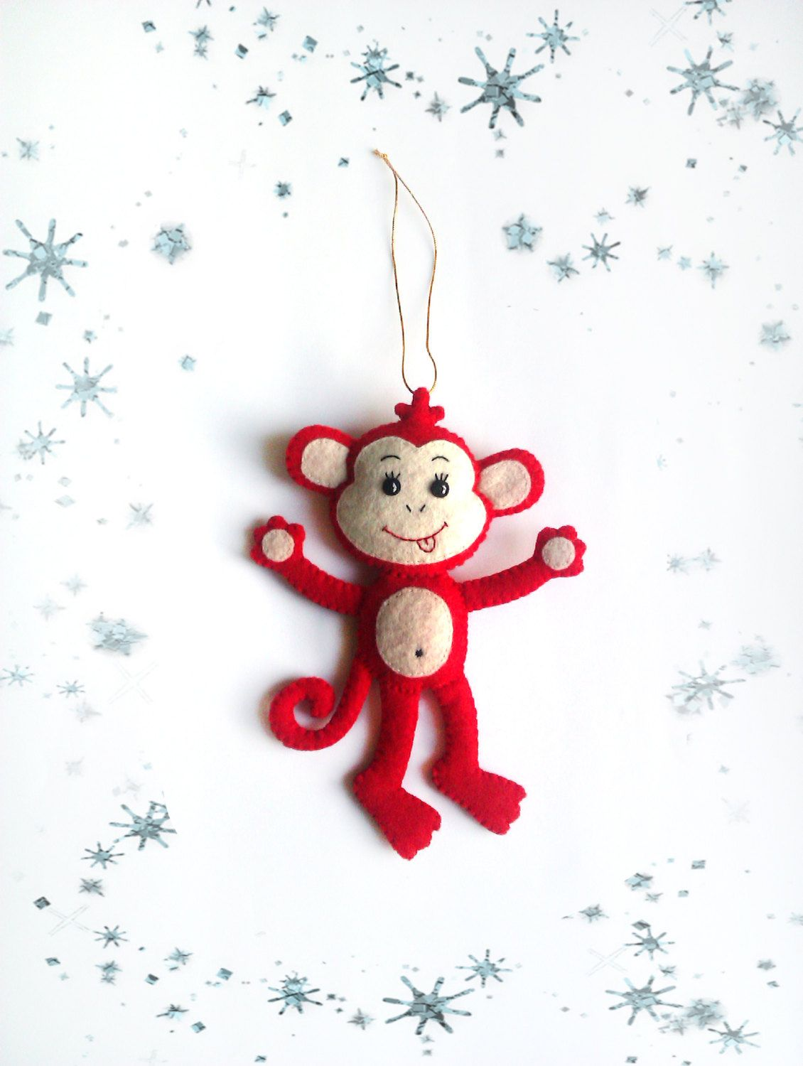 ornaments monkey christmas tree decorations handmade felt plush toys for holidays smile cute monkey christmas gift for kids creative decor by belkaua on