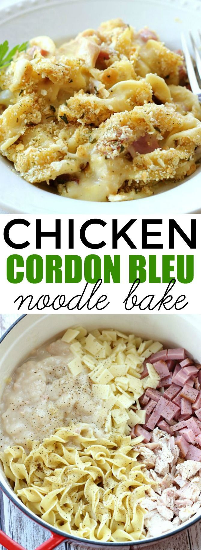 Cordon Bleu Noodle Bake This Chicken Cordon Bleu Noodle Bake makes an easy, comforting dinner any day of the week. It's a delicious one-pot meal the whole family will love!This Chicken Cordon Bleu Noodle Bake makes an easy, comforting dinner any day of the week. It's a delicious one-pot meal the whole family will love!