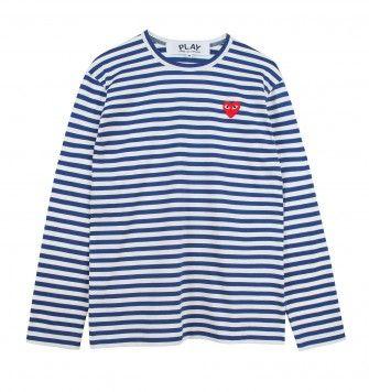 COMME DES GARÇONS SMALL LOGO STRIPED L/S T-SHIRT. White / Blue. £105.00