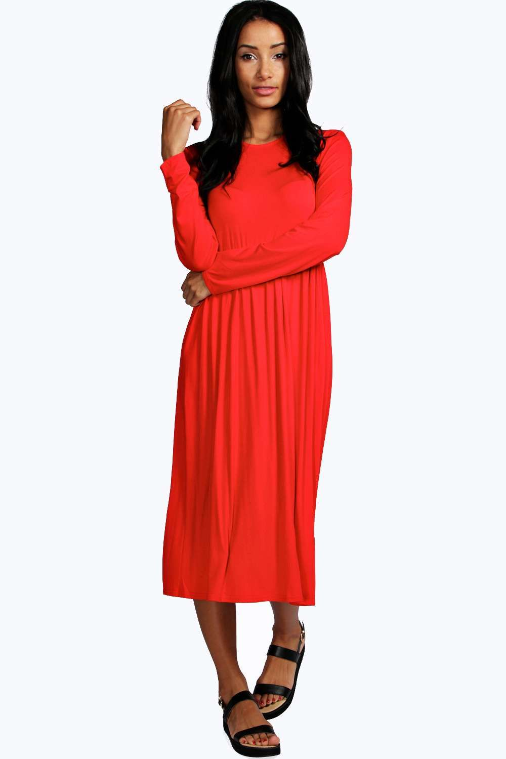 Long sleeve midi dress orange fashiontodiefor pinterest midi