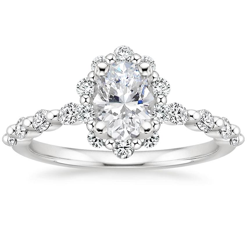 Marseille Halo Diamond Engagement Ring 18K White Gold