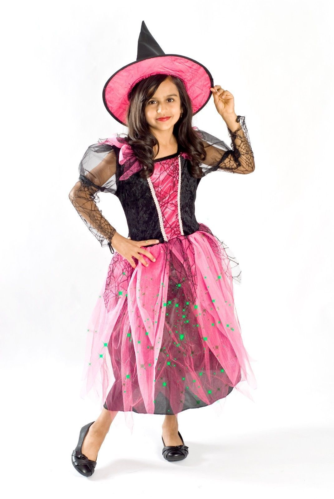 witch costume for girls light up pink fiber optic halloween size 4 5 6 7 8 - 5 Girl Halloween Costumes