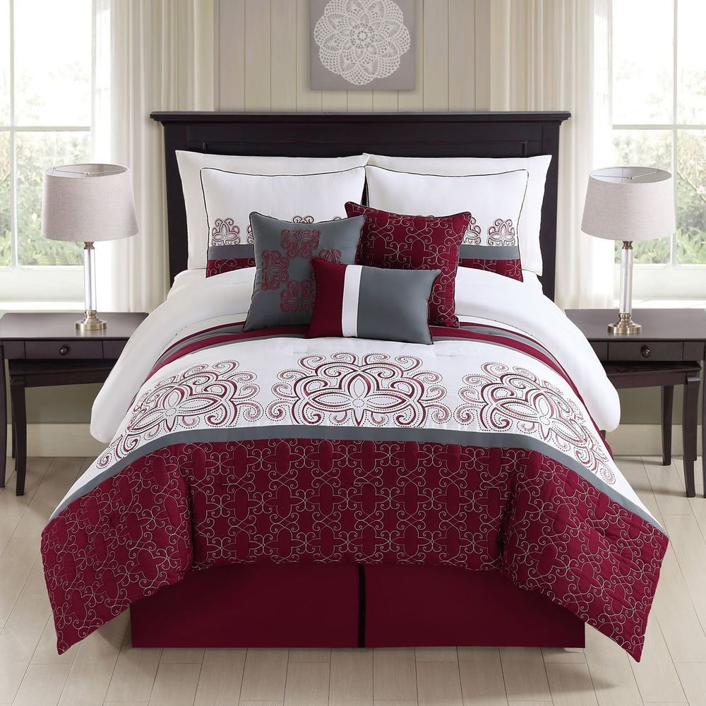 Luxurious 7 Piece Embroidered Bedding Burgundy/ Ivory/Gray Comforter Set  New. Design Ideas