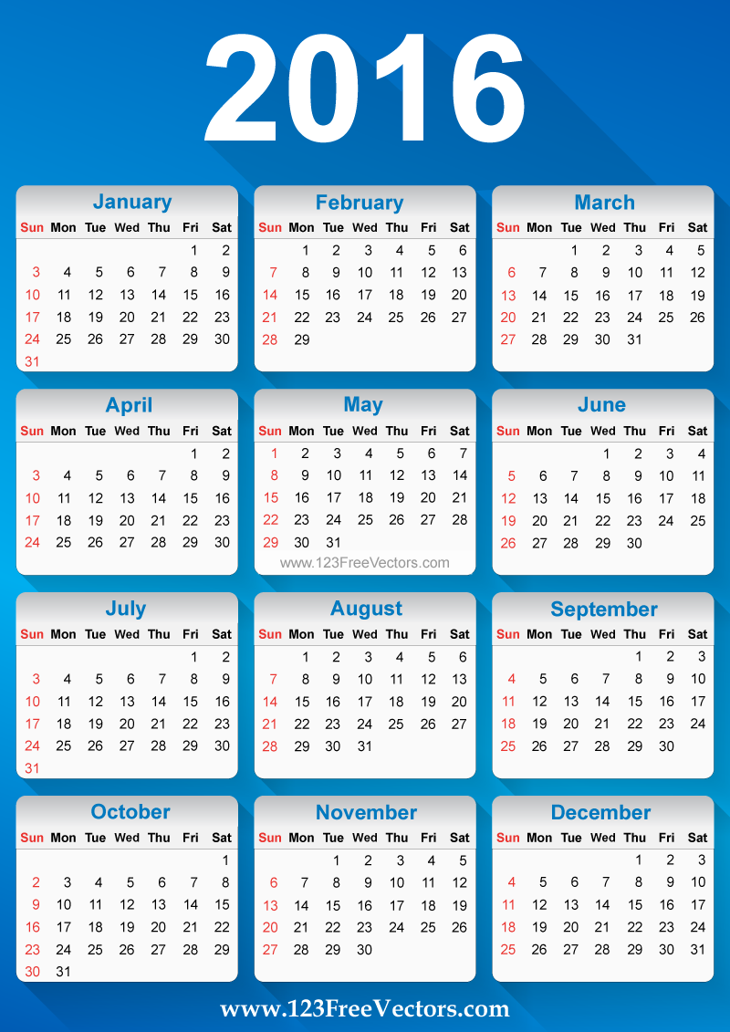 Free vector printable 2016 calendar template download for Usable calendar template