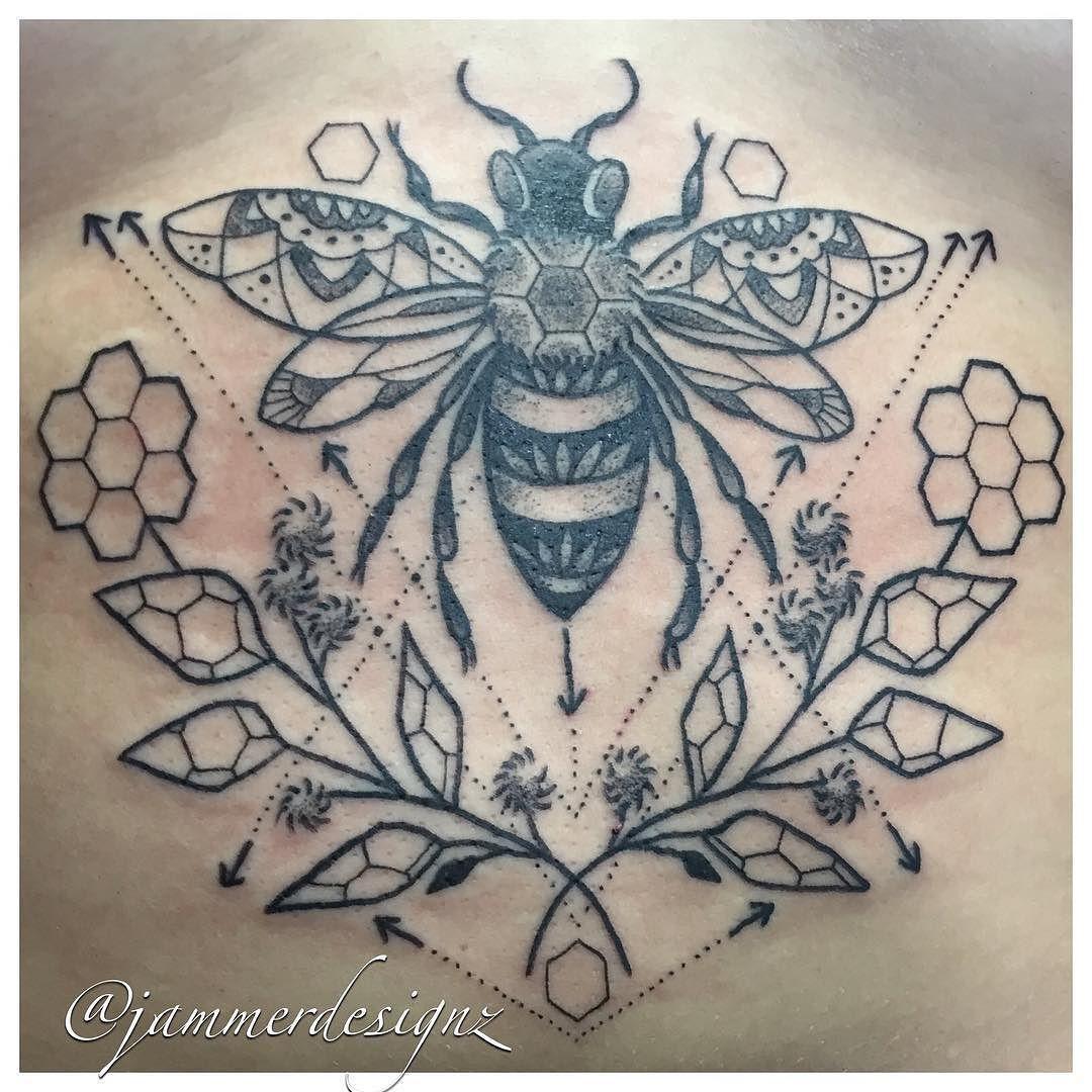 Geometric Bee Sternum Tattoo - Jammer Designz | jammerdesignz.com