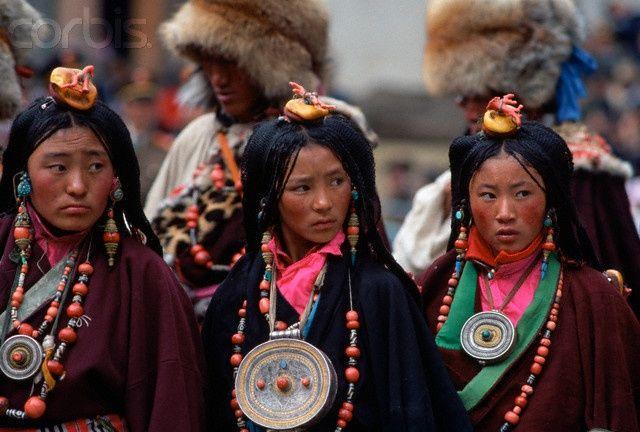 Asia: Tibetan girls with beautiful braided hair