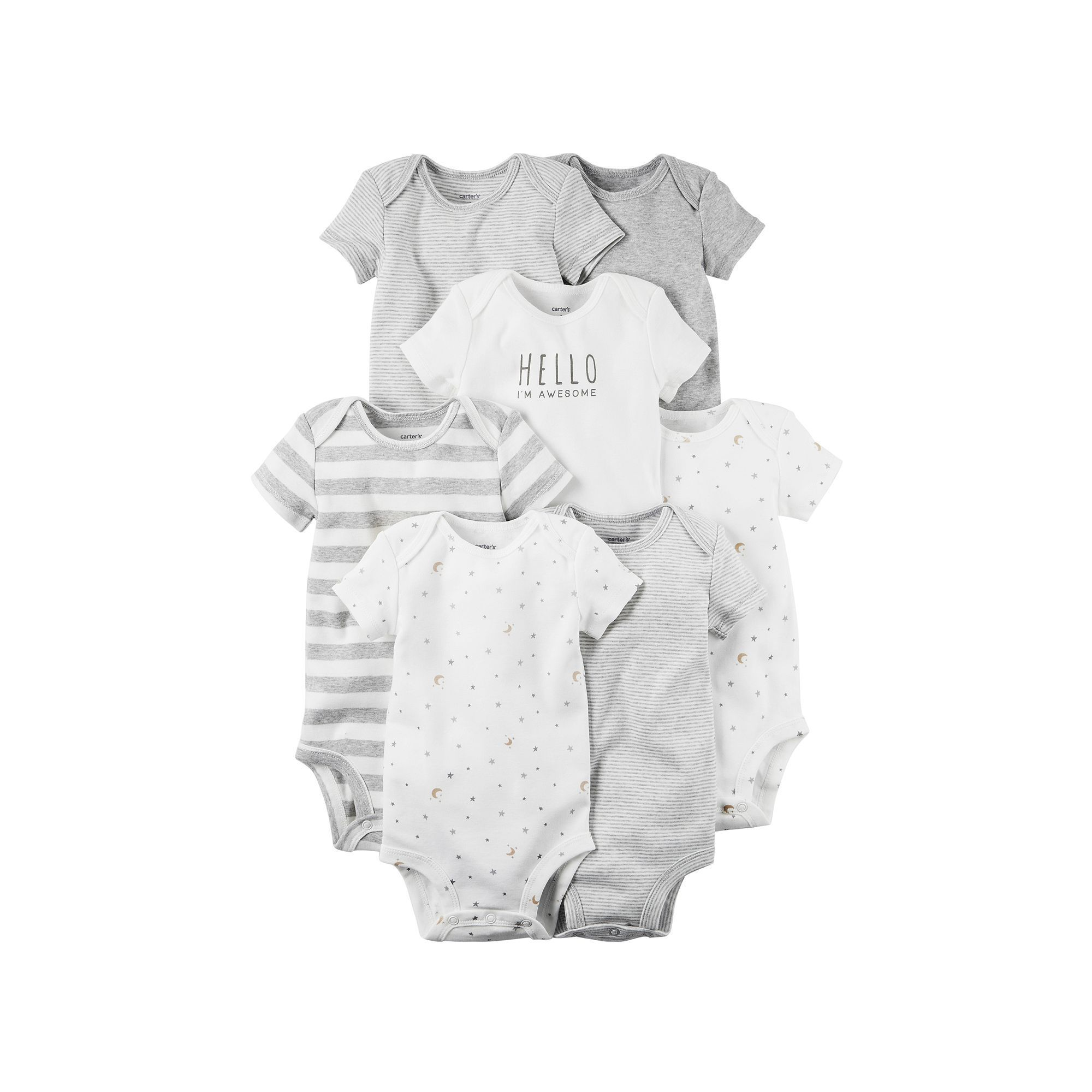 Baby Carter s 7 pk Print Graphic & Solid Bodysuits Infant Uni