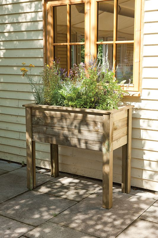 Bamburgh Planter Table High Level Wooden Planter Ideal For Herbs