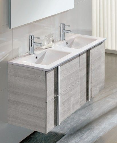 Athena Sandy Grey 2 Door 2 Drawer 120cm Wall Hung Vanity Unit And Basin    Double