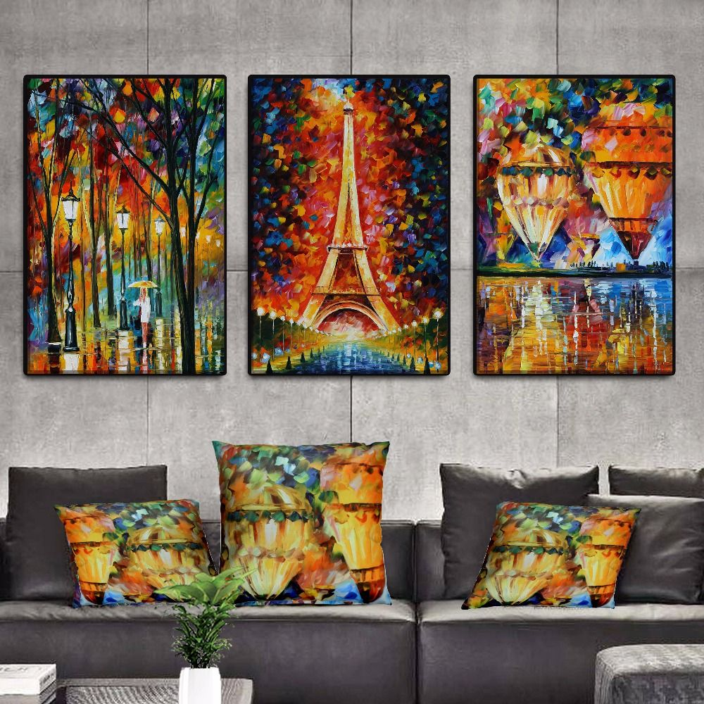 Leonid Afremov Cities Night Street Eiffel Tower Landscape Canvas Print Painting Poster Wall Picture For Living