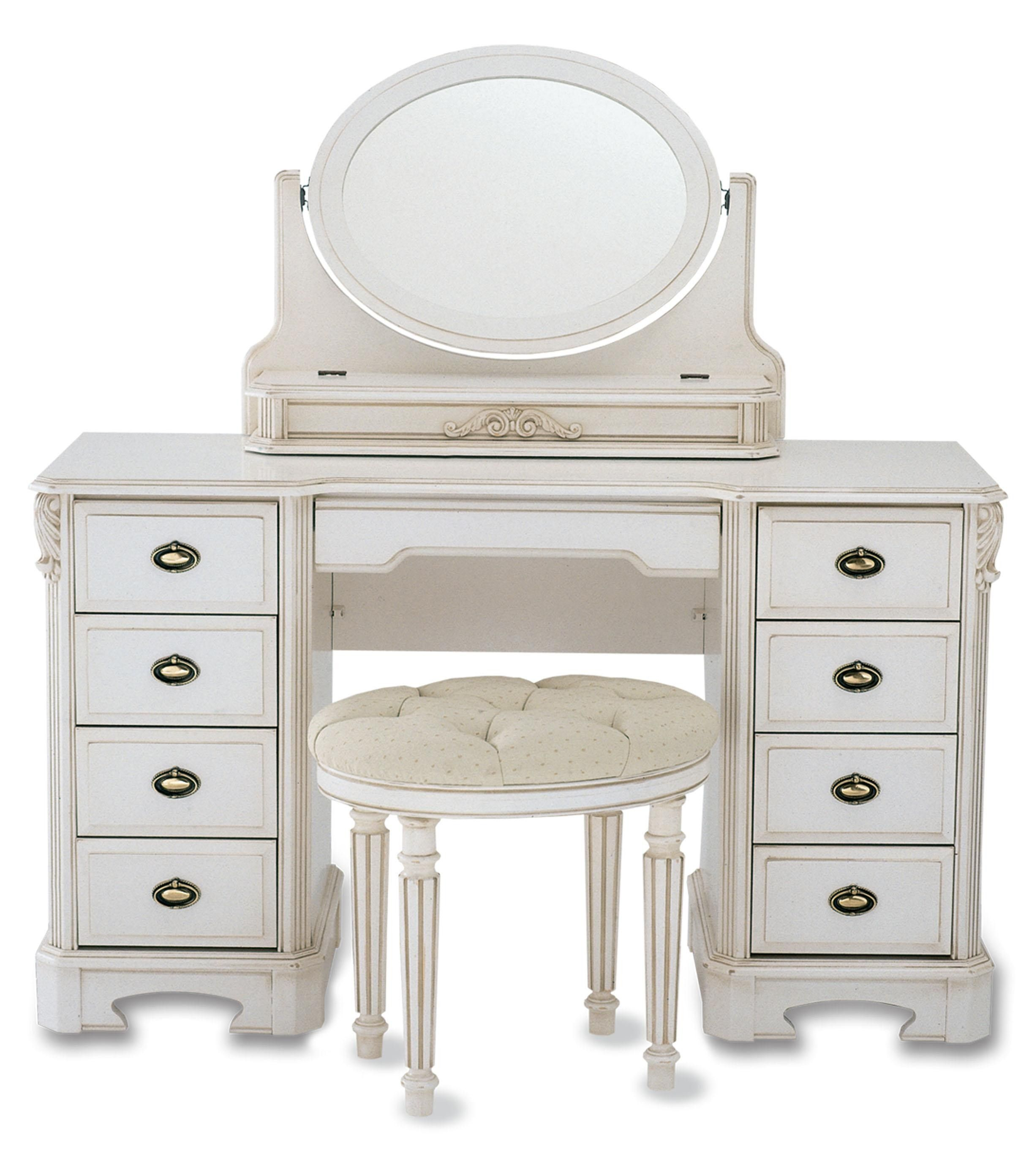Alluring white dressing table with oval mirror frames be equipped