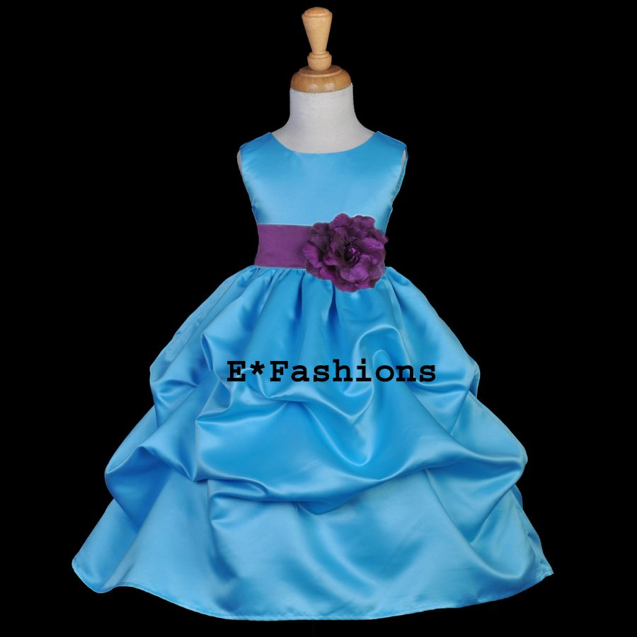 Details about TURQUOISE BLUE PLUM PURPLE WEDDING FLOWER GIRL DRESS ...