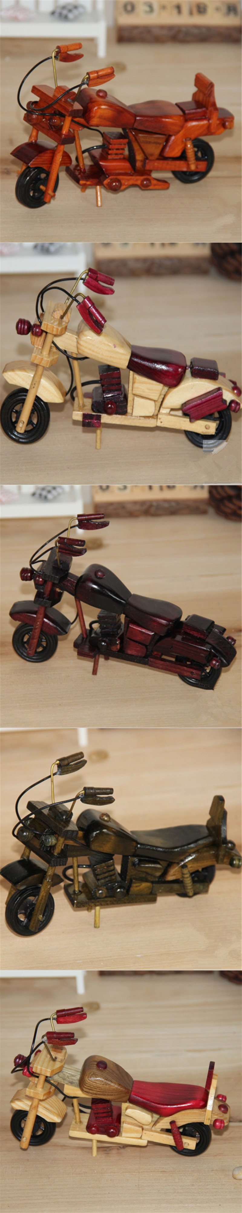 Creative Retro Handmade Wooden Motorcycle Model Children Toy Car Gift Home Decor Random Color $12.99