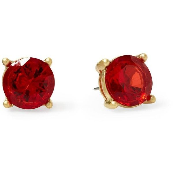 Pim + Larkin Solitaire Stud Earring ❤ liked on Polyvore featuring jewelry, earrings, accessories, red, orange red, stud earrings, red earrings, red jewellery, post back earrings and orange earrings