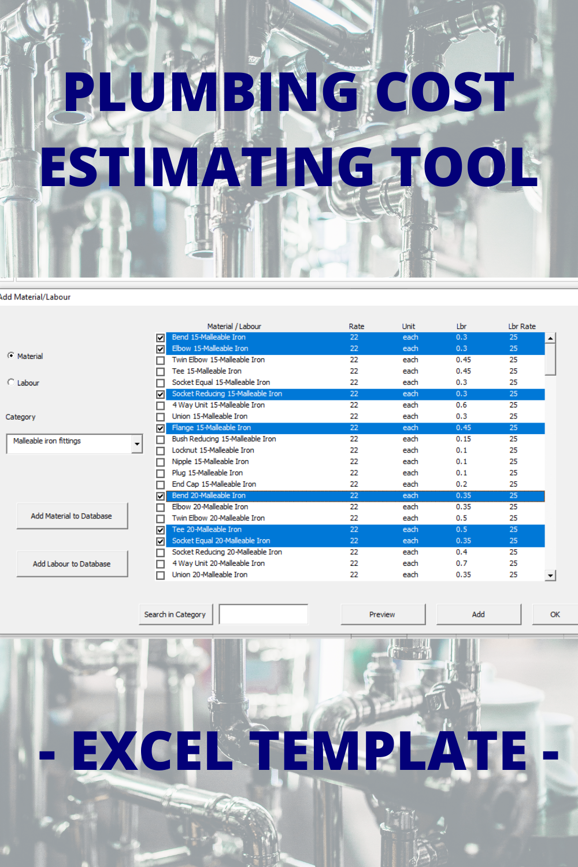 Plumbing Cost Estimating Excel Template Project Management Tools Excel Templates Project Management Project Management Templates [ 1500 x 1000 Pixel ]