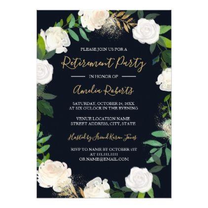 Floral Wreath Blush Navy Gold Retirement Party Card Retirement