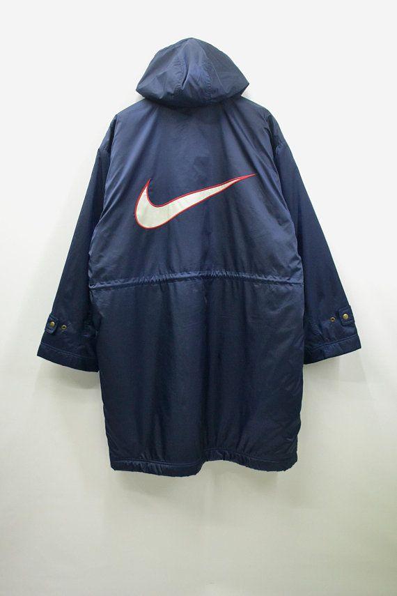 Nike Windbreaker Mens XL Nike Jacket Men Vintage Nike Swoosh Big Logo Nike  Vintage Activewear Men s XL Nike Long Winter Jacket 4a78a5302