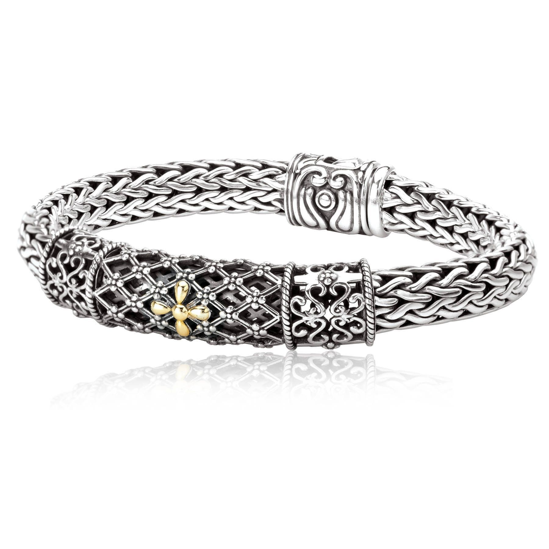 Avanti sterling silver and k yellow gold filigree design bracelet