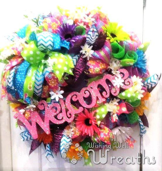 Deco Mesh Summer WreathBright Colored by WishingWellWreaths