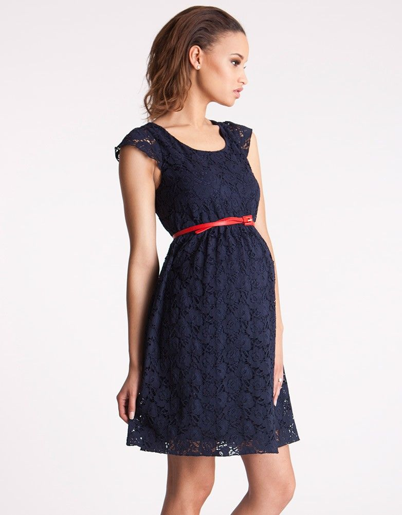bf04f053c575b Red Leather Skinny Maternity Belt | Seraphine styled with navy blue lace  dress