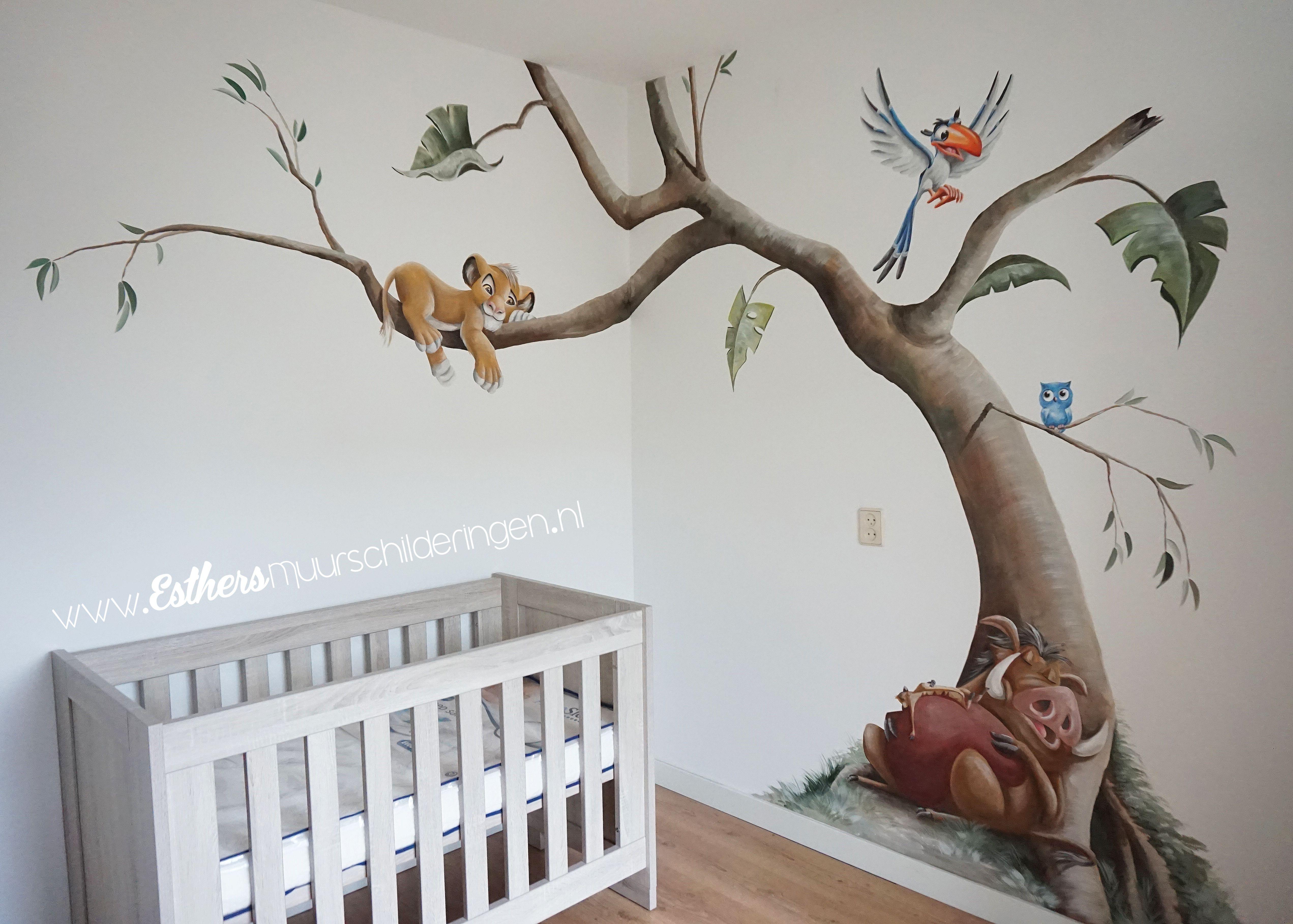Muurschildering Lion King Met Afbeeldingen Babykamer