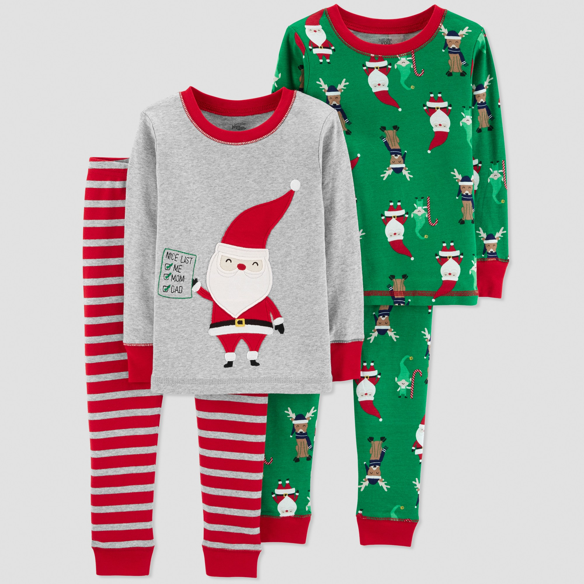 ffbb26111e Baby Boys  4pc Santa s List Pajama Set - Just One You made by Carter s Gray  18M