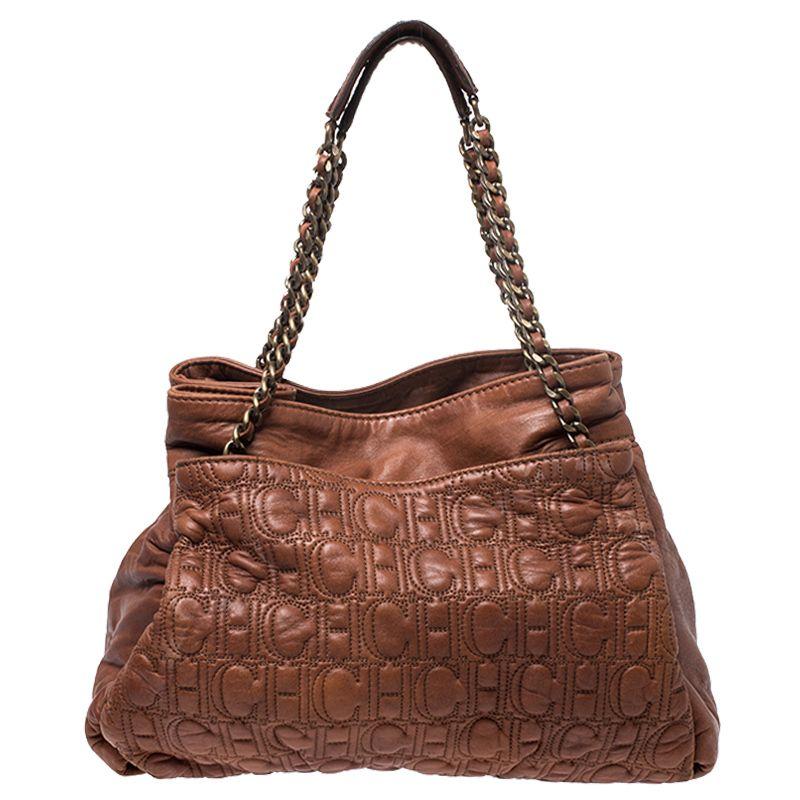Pre Owned Ch Carolina Herrera Brown Monogram Leather Tote Modesens Monogram Leather Tote Brown Leather Totes Leather Tote