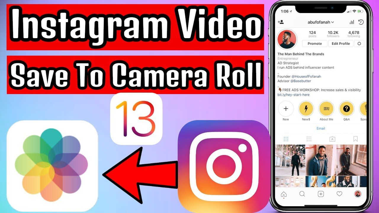 How to save instagram video on iphone camera roll no