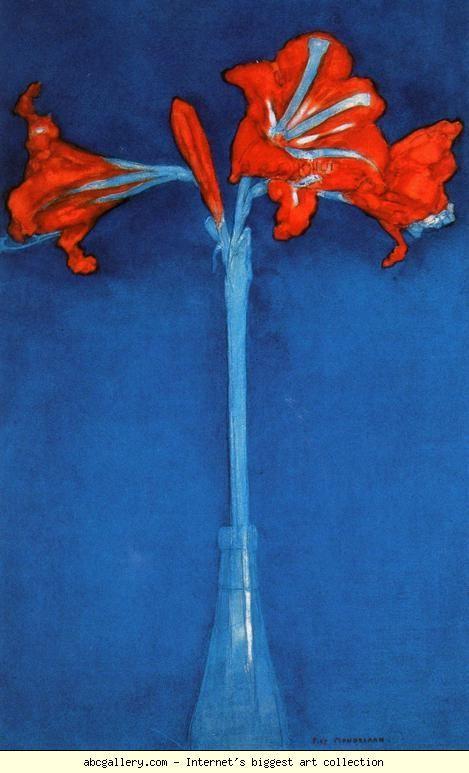Piet Mondrian. Amaryllis. 1910. Watercolor over pen. 49.2 x 31.5 cm. Private collection